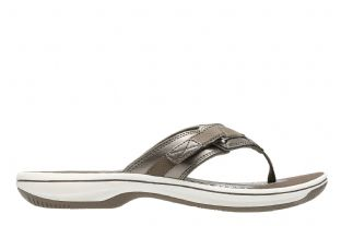 Clarks Womens Brinkley Sea Pewter Synthetic Sandals